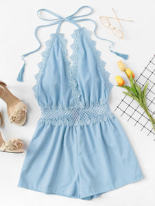 Lace Trim Open Back Halter Romper