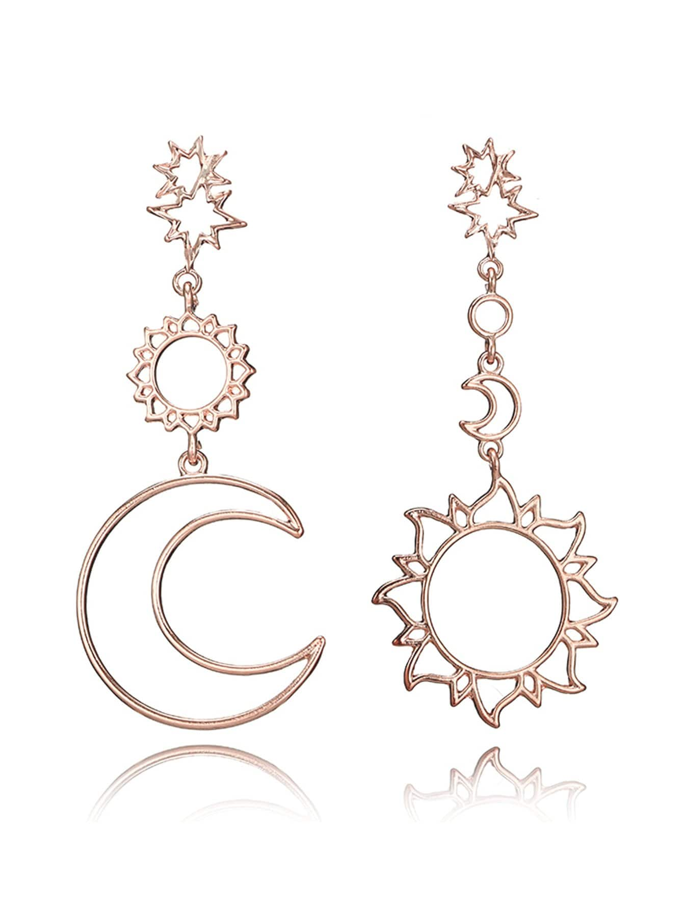 Moon & Sun Mismatched Drop Earrings