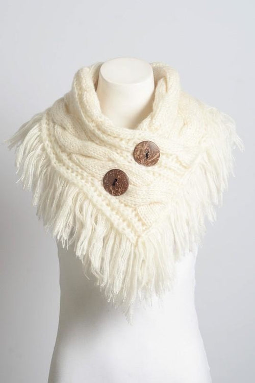 Beautiful Ivory Infinity Scarf w/ Buttons