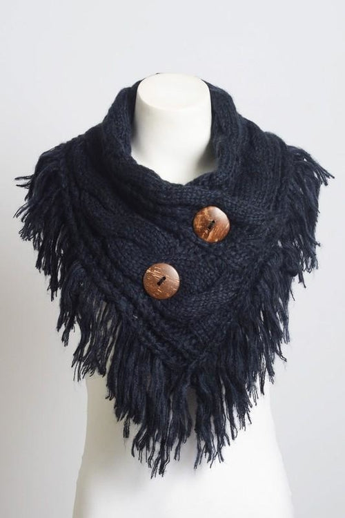 Beautiful Navy Infinity Scarf w/ Buttons