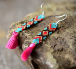 Boho Tassel Earrings Colorful Glass Seed Beads
