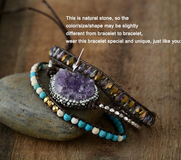Wrap Bracelets Natural Stones Crystal