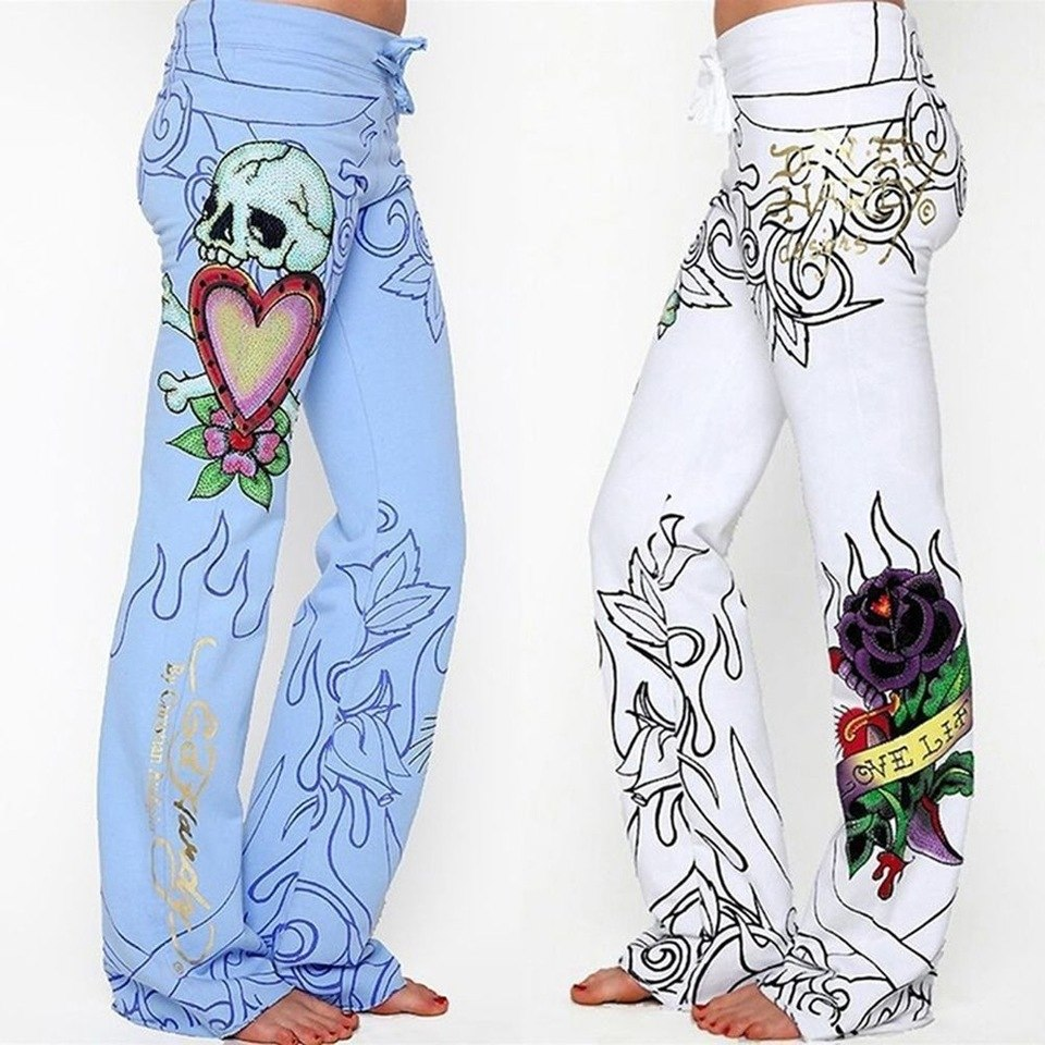 Fashion Women Baggy Skull Rose High Waist Printed Long Pants Hippie Wide Leg Boho Blue White Trousers Flower