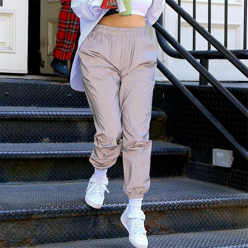 Summer Sweatpants 2019 Hippie Women's High Waist Pants Streetwear Reflective Hip Hop Pants Joggers Women Harem Pants