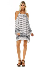 Women's Cut Out Shoulder Boho Dress