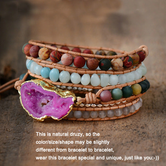 New Bracelets for Women Natural Stones Drusy Charm