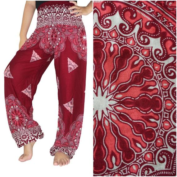 Red FLORAL Women Boho Pants Hippie Pants Yoga