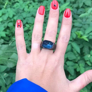 Magical Blue sky resin and wood ring Sky blue wood epoxy jewelry Wood rings for women, Gypsy Ring Boho Rings for Women Unique gift for her