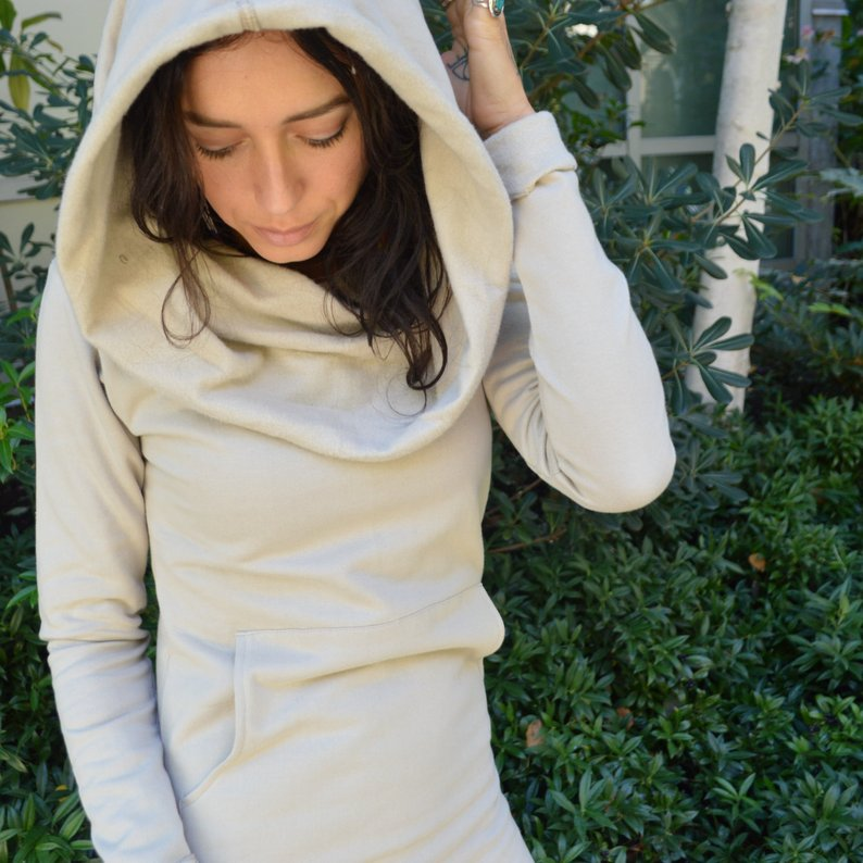 Nomad Dress *New earthy colors* - organic cotton fleece hooded cowl dress
