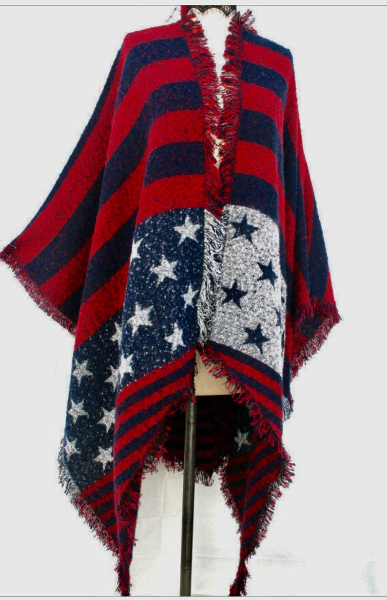 Most sold best selling item, unique woman gift, kimono cardigan,  red white blue scarf, poncho for woman, PIYOYO