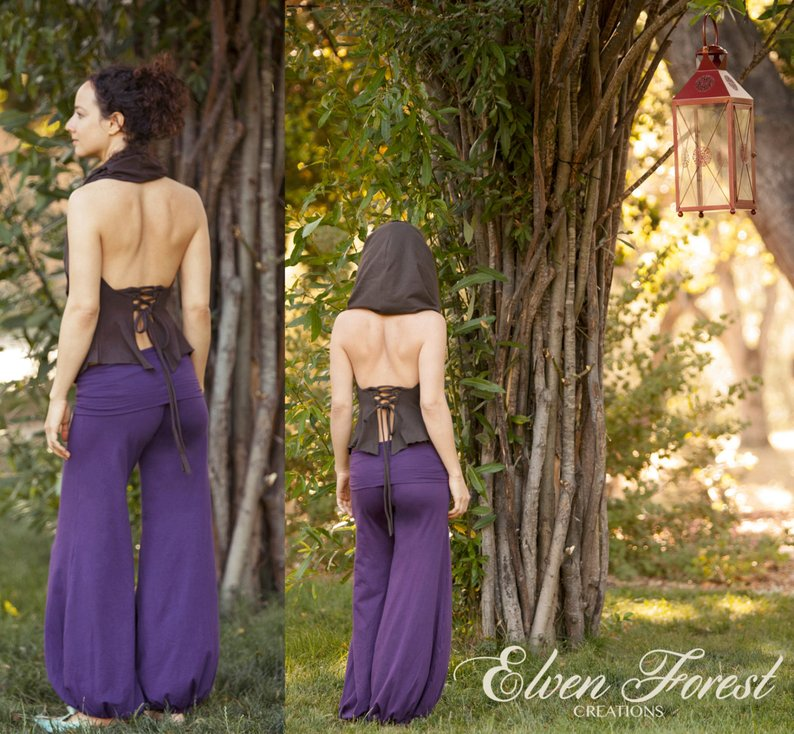 Lace Up Back Fae Top ~ cowl hood and fluted sides ~ Elven Forest, festival clothing