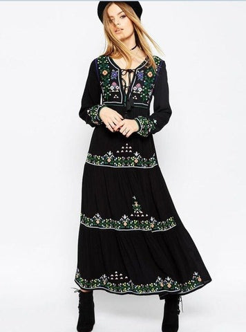 Black dress floral embroidered boho dress