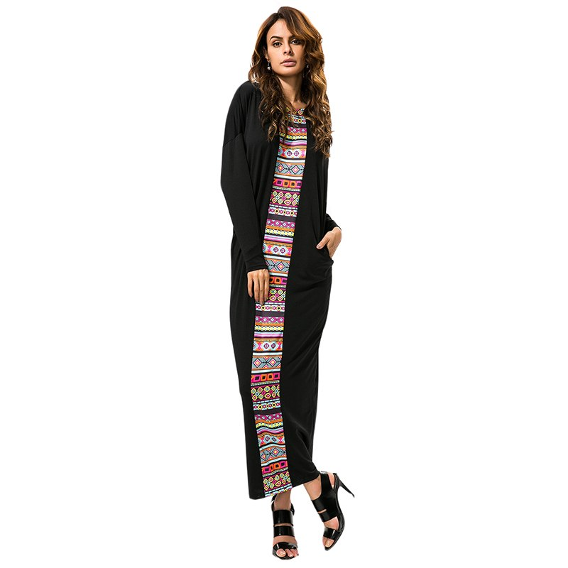 Women Boho Maxi Dress Summer Long Batwing Sleeve