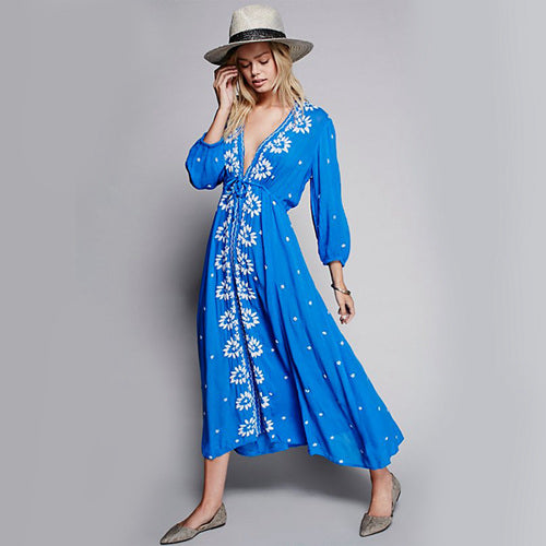 Khale Yose Cotton Summer Dress Long Sleeve