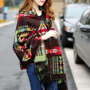 Women Print scarf cashmere Bohemian Hooded Coat Cape Poncho Shawl Scarf Tribal Fringe winter shawl