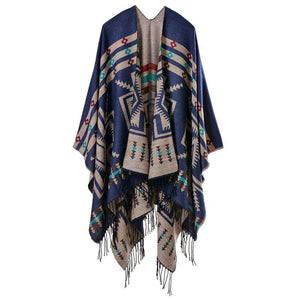 Women Blanket Shawl Pashmina Wrap Poncho Cape Winter Large Tassel Scarf