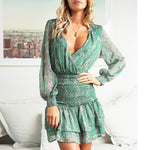 Boho Dress Mesh V Neck Sexy Mini Dress