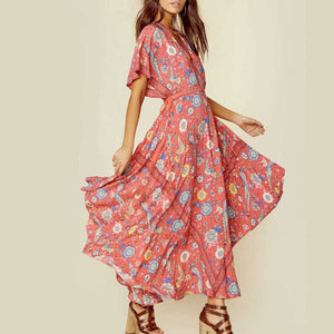 Women Boho Dress 2018 Summer Long Dresses Floral Bird Print Pattern A-line Batwing Sleeve Dress V Neck SpellDesigns
