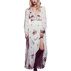 Vintage floral Embroidery tassel casual maxi dress