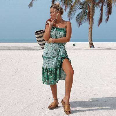 Boho Chic Vestidos Holiday Floral Strappy Dress Sleeveless Beach Vestidos Mujer Backless Slip Dress Boho Chic Dress Women