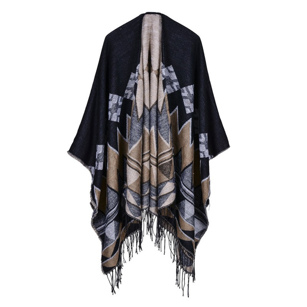 Women Long Scarves Diamond Shawl Poncho Cape Pashmina Wrap Scarf with Tassels
