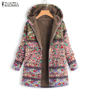 Boho Plush Fluffy Coats Casual Hooded Faux Fur Fleece Floral Outwear
