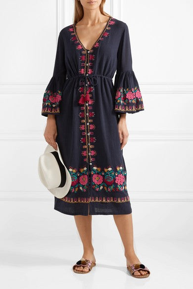 Gypsy Chic Embroidery Midi Dress Bell Sleeve V Neck Loose Elastic Waist Boho Dress Thin Cotton Bohemia Vestidos Femmes