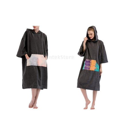 Quick Dry Surf Hooded Poncho Changing Robe & Sleeve Pocket for Wetsuit Beach Pool Swimming Towel Removal