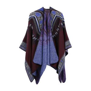 Womens Bohemia Tassels Knitted Cashmere Ponchos Shawl Cardigans Sweater Coat