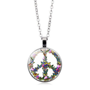 Hippie Peace Sign Glass Dome Pendant Necklace