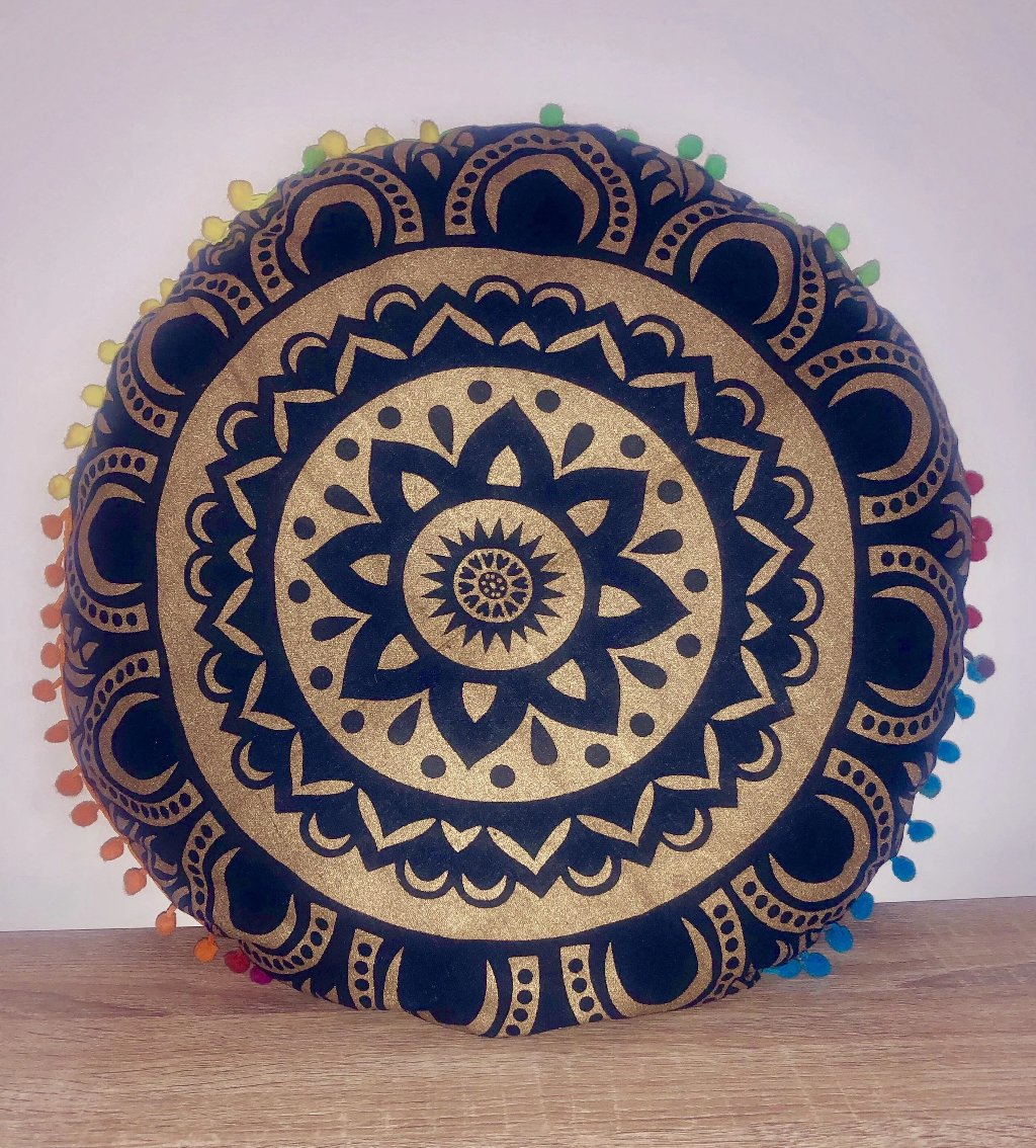 Gold Mandala Cushion.my-bohemian.myshopify.com