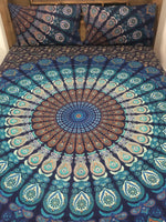 Deep Blue Peacock - King Doona Cover Set