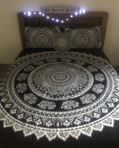Mandala Elephant - Queen Doona Cover Set