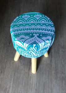 Aqua Mandala Foot Stool