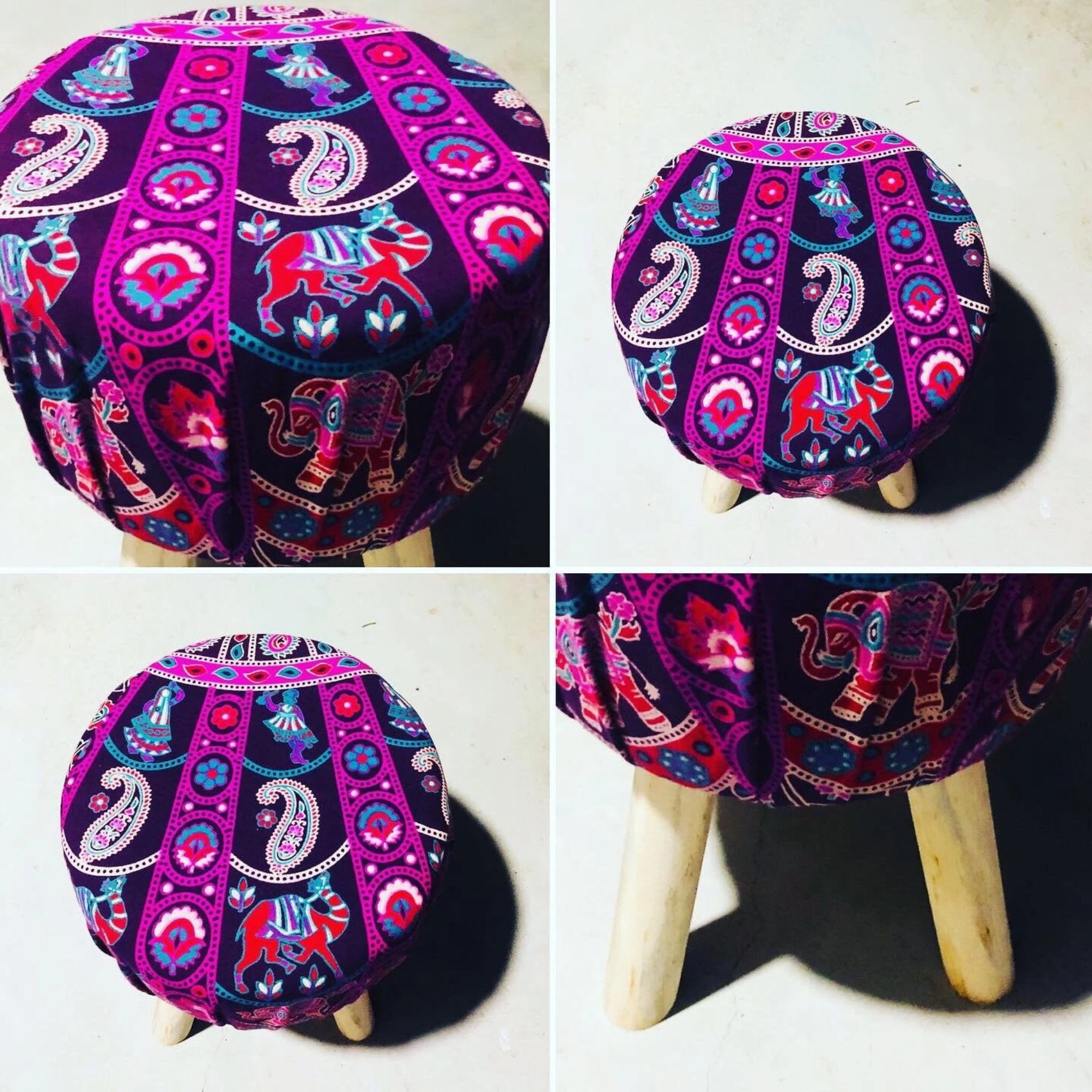 Purple Swirl Foot Stool.my-bohemian.myshopify.com