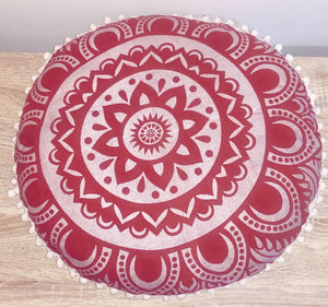 Red Mandala Cushion.my-bohemian.myshopify.com