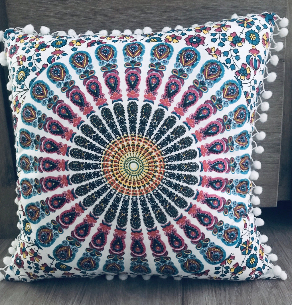 Pink With Blue Peacock Cushion