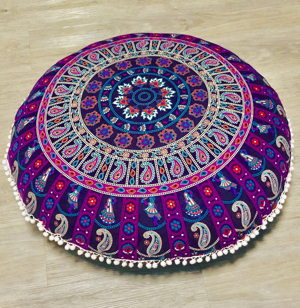 Purple Swirl Floor Cushion.my-bohemian.myshopify.com