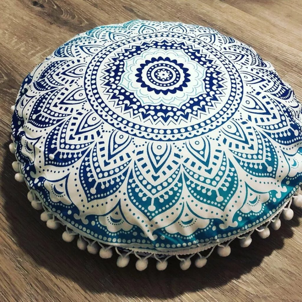 Blue Mandala Cushion.my-bohemian.myshopify.com