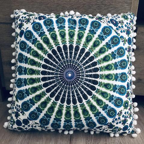 Blue Peacock Cushion.my-bohemian.myshopify.com