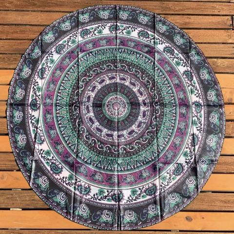 Multi Colour Elephant Round Tapestry.my-bohemian.myshopify.com