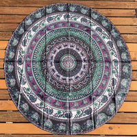 Multi Colour Elephant Round Tapestry