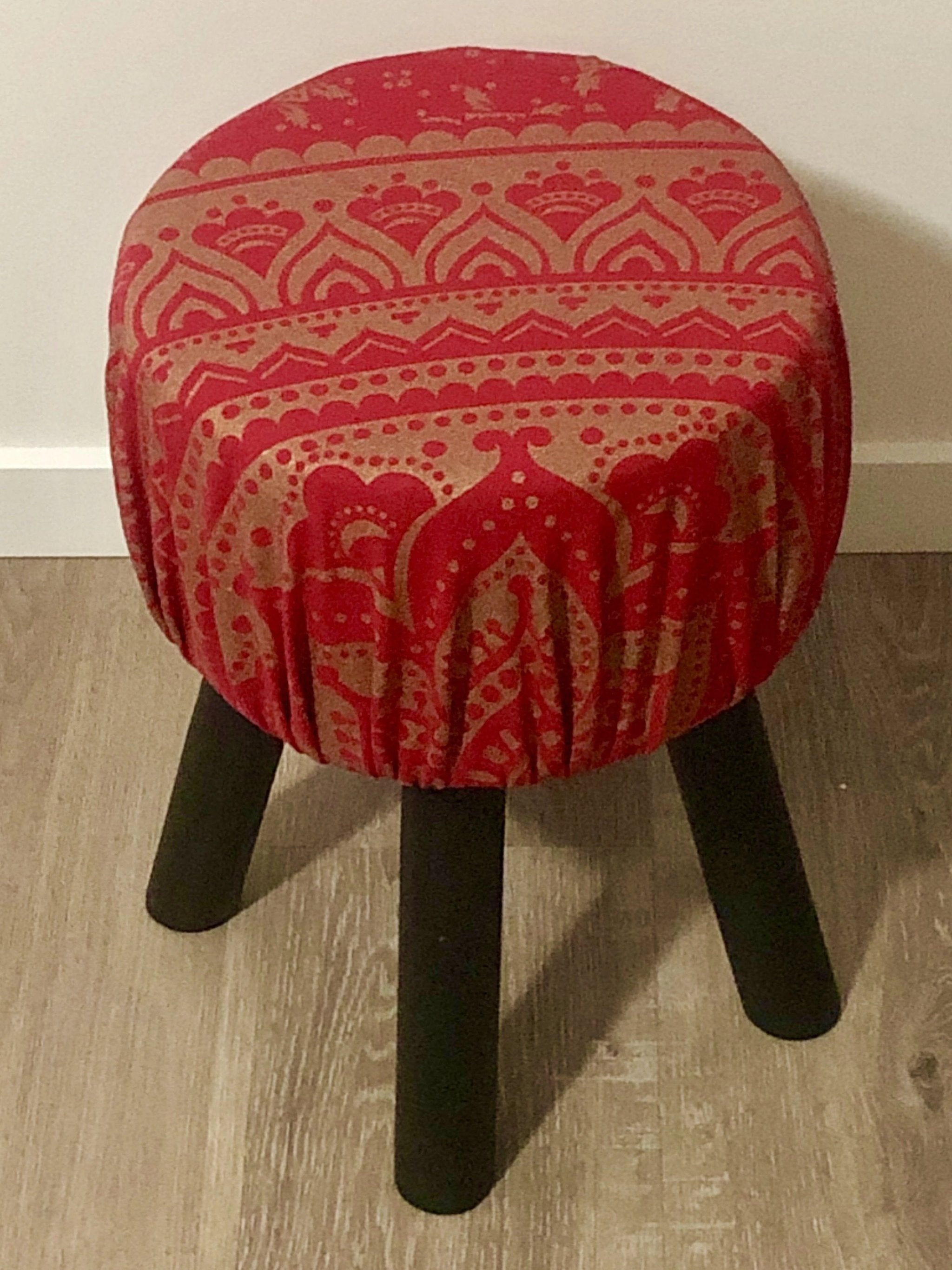 Red Mandala Foot Stool.my-bohemian.myshopify.com