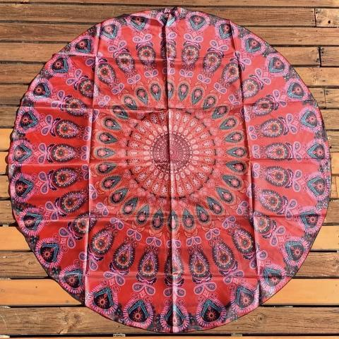 Red Peacock Round Tapestry