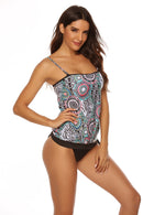 Tie Side Blouson Printed Two Piece Tankini Set