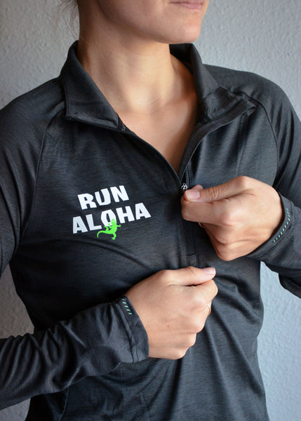 W's Run Aloha Alpha Half-Zip - Black