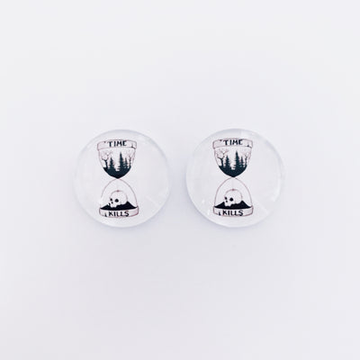 The 'Time Kills' Glass Earring Studs