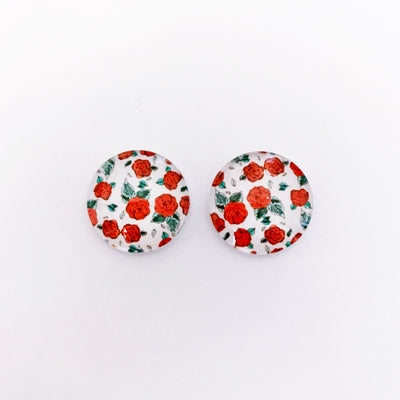 The 'Roses Are Red' Glass Earring Studs
