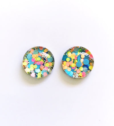 The 'Disco Diva' Glitter Glass Earring Studs