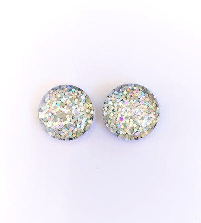 The 'Snow Queen' Glitter Glass Earring Studs